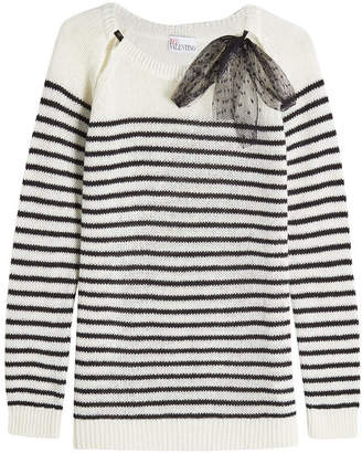 RED Valentino Striped Pullover in Wool, Angora and Cashmere