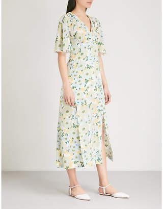 Sandro Floral silk-crepe dress