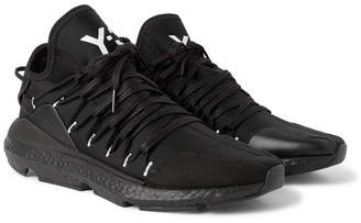 Y-3 Kusari Leather And Suede-Trimmed Neoprene Sneakers