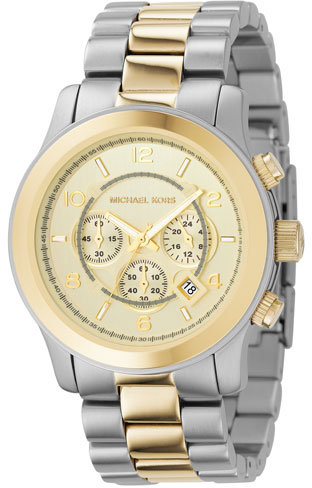 Michael Kors Two-Tone Oversized Chronograph, Silver/Gold