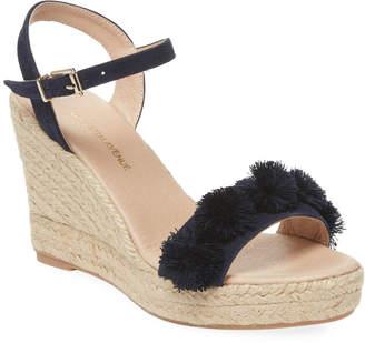 Saks Fifth Avenue Suede Pom-Pom Wedge Sandal