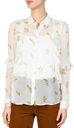 The Kooples Popcorn Floral-Print Sheer Silk Shirt