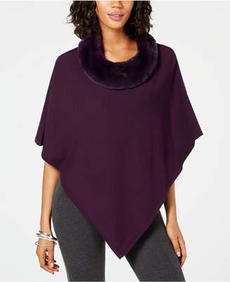 Alfani Petite Faux-Fur-Collar Poncho Sweater