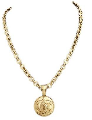 Gold Tone Metal Coco Mark Pendant Necklace