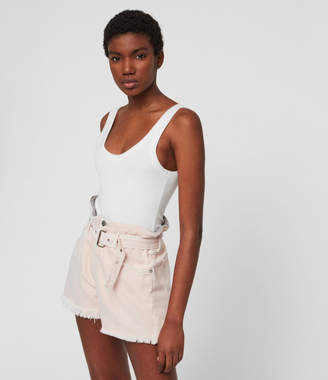 AllSaints Hannah Paperbag High-Rise Denim Shorts