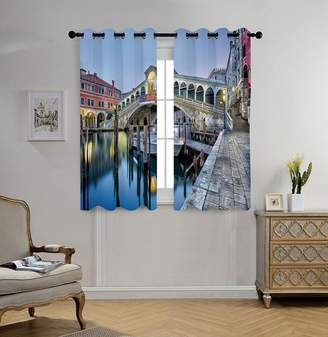 Rialto oobon Stylish Window Curtains,Venice,Morning Twilight Grand Canal Bridge Water Reflection Scenic Urban Decorative,Silver Blue Cinnamon,2 Panel Set Window Drapes,for Living Room Bedroom Kitchen Cafe