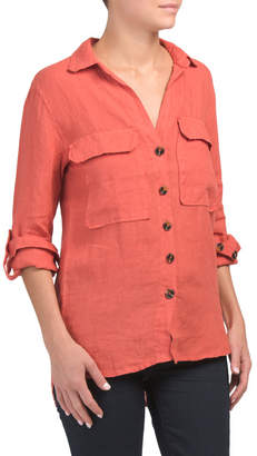 Made In Italy Linen Maxi Chest Pocket Shirt
