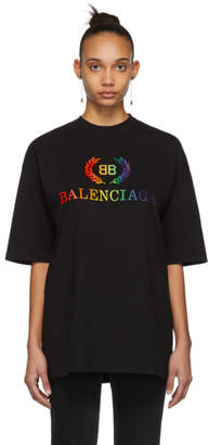 4077aca335cb Balenciaga Black Oversized Rainbow BB T-Shirt