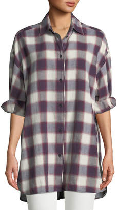 Clive Button-Down Oversized Plaid Shirt w/ Back Slit