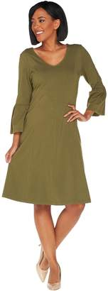 Denim & Co. Regular V-Neck 3/4 Bell Sleeve Fit & Flare Dress