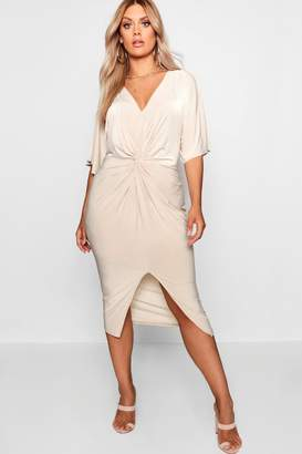 boohoo Plus Slinky Twisted Kimono Sleeve Midi Dress