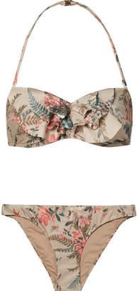Zimmermann Bayou Ruffled Floral-print Bandeau Bikini - Beige