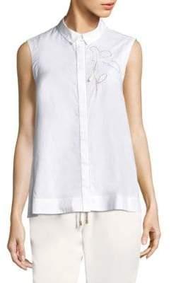 Peserico Sleeveless Button-Down Flower Shirt