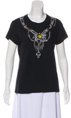 Oscar de la Renta Embellished Short Sleeve Top