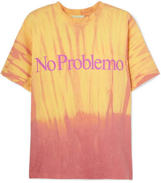 Aries No Problemo Printed Tie-dyed Cotton-jersey T-shirt - Yellow