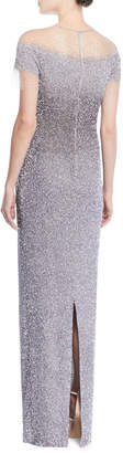 Pamella Roland Short-Sleeve Crunchy Sequin Ombre Gown