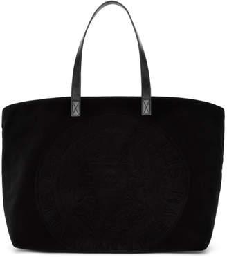 Balmain Black Velvet Logo Shopping Horizontal Tote