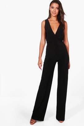 boohoo Tall Naia Wrap Front Wide Leg Slinky Jumpsuit