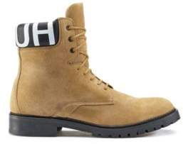 HUGO Boss Lace-up suede boots logo-print padded collar 9 Beige
