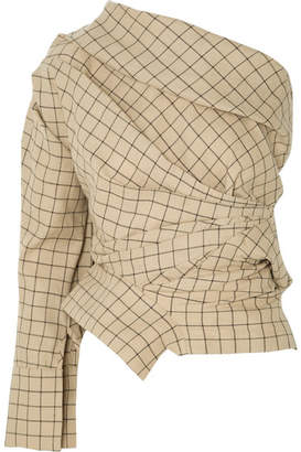 Awake One-shoulder Gathered Checked Cotton Top - Beige