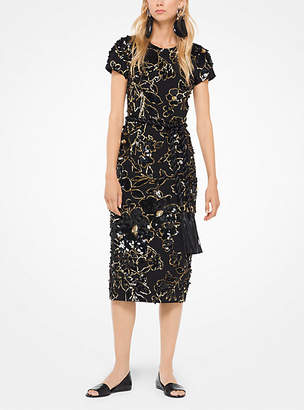 Michael Kors Floral-Embroidered Crepe Dress