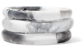 Dinosaur Designs Wishbone Set Of Three Resin Bangles - White