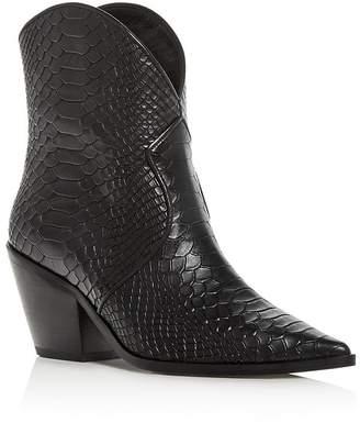 Anine Bing Women's Croc-Embossed High-Heel Cowboy Boots