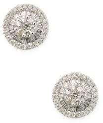 18K White Gold & Champagne Diamond Round Stud Earrings