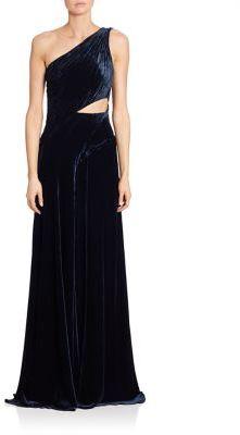 Ralph Lauren Collection Tess Velvet One-Shoulder Gown