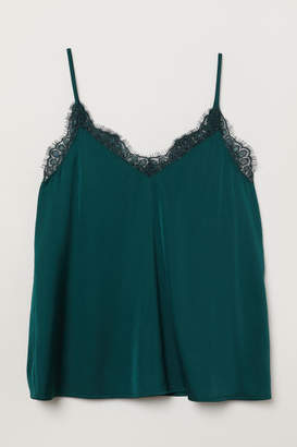H&M Satin Camisole Top - Green