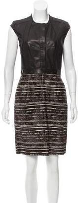 Derek Lam Leather Paneled Ponyhair Dress