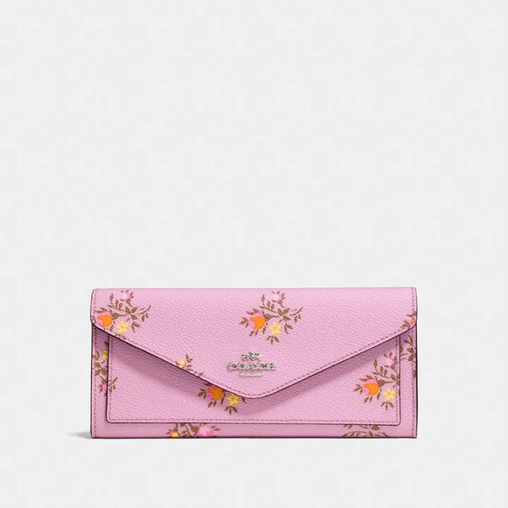 Coach New YorkCoach Soft Wallet With Cross Stitch Floral Print - SILVER/LILY CROSS STITCH FLORAL - STYLE