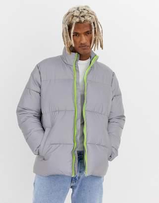 Asos DESIGN reflective puffer jacket