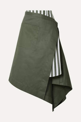 Monse Asymmetric Wrap-effect Striped Voile And Cotton-drill Midi Skirt - Army green