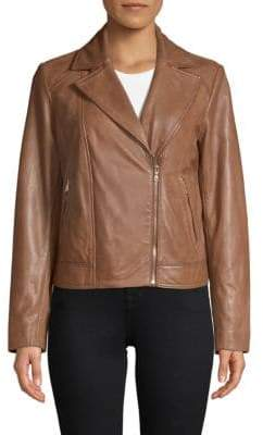 Cole Haan Zip-Front Leather Moto Jacket