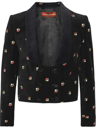 ALEXACHUNG Embroidered Cotton-velvet Tuxedo Jacket - Black