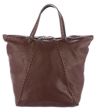 Bottega VenetaBottega Veneta Intrecciato-Trim Leather Tote