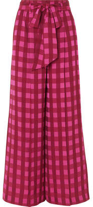 Temperley London Stirling Checked Jacquard Wide-leg Pants - Bright pink