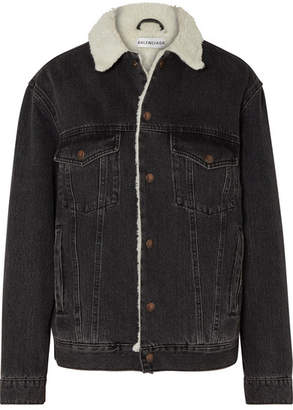 Balenciaga Faux Shearling-trimmed Denim Jacket - Black