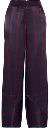 By Malene Birger Greetha Striped Satin Wide-leg Pants - Midnight blue