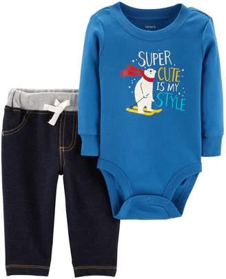 "Carter's Baby Boy Super Cute Is My Style"" Bodysuit & Pants Set"