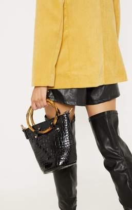586879874f9f PrettyLittleThing Black Patent Croc Bamboo Bucket Bag