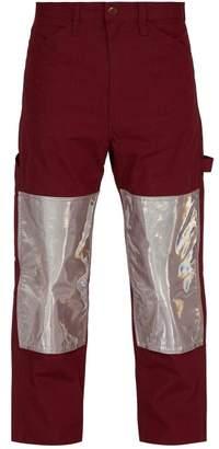 Junya Watanabe Reflective Panel Cotton Blend Work Trousers - Mens - Burgundy