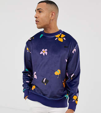 Collusion COLLUSION Tall velour printed floral sweatshirt in navy