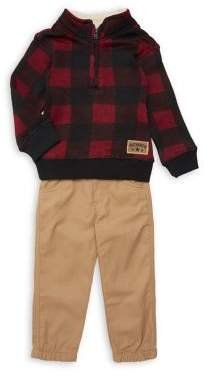 Nannette Little Boy's Plaid Half-Zip Jacket & Cotton Pants Set
