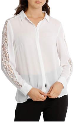 Miss Shop Lace Insert Button Up White Shirt