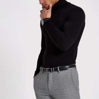 Mens Black slim fit roll neck jumper