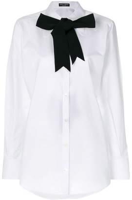 Dolce & Gabbana contrast pussybow shirt