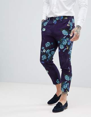 Asos DESIGN Wedding Skinny Cropped Suit Pants In Navy Floral Linen Look