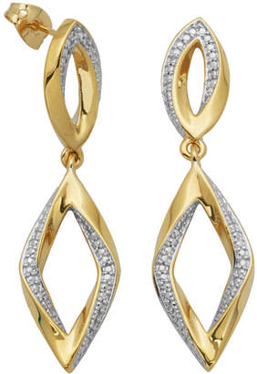JCPenney FINE JEWELRY 14K Gold over Sterling Diamond-Accent Diamond-Shaped Earrings